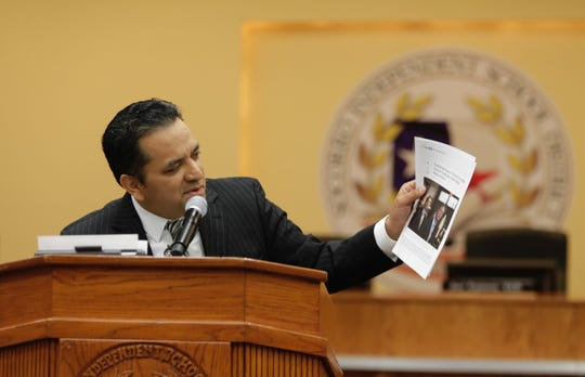 Socorro Independent School District Superintendent Jose Espinoza speaks during a news conference to discuss an audit on Wednesday, Feb. 26, 2020.