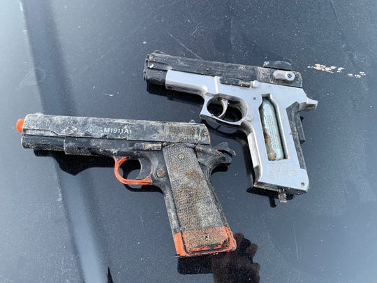 Two replica firearms seized during an incident Tuesday in Ventura.