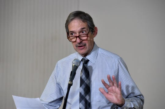 Dr. Robert Levin, Ventura County public health officer, talks about the coronavirus quarantine center at Naval Base Ventura County Point Mugu during a news conference on Feb. 26, 2020.