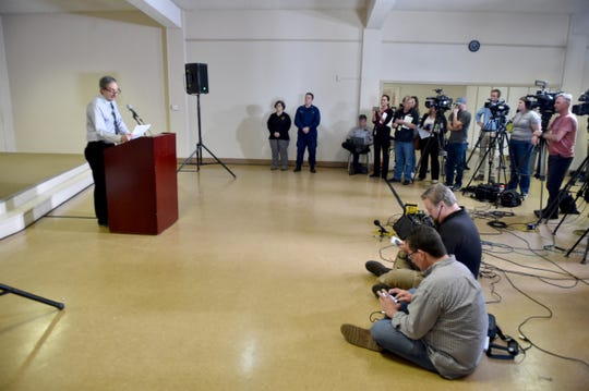 Dr. Robert Levin, Ventura County public health officer, talks about the coronavirus quarantine center at Naval Base Ventura County Point Mugu during a news conference in February.