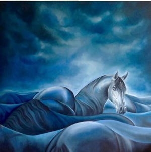 "Maia Engel's ""Blue Horse will be among the artwork included in Gallery 50's March exhibit, ""Two Friends,"" at 50 E. Commerce St., in Bridgeton."