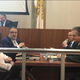 Mayor Anthony Fanucci (left, rear) talks to Chief Financial Office Susan Baldasaro following the presentation of the proposed 2020 municipal budget to the City Council.