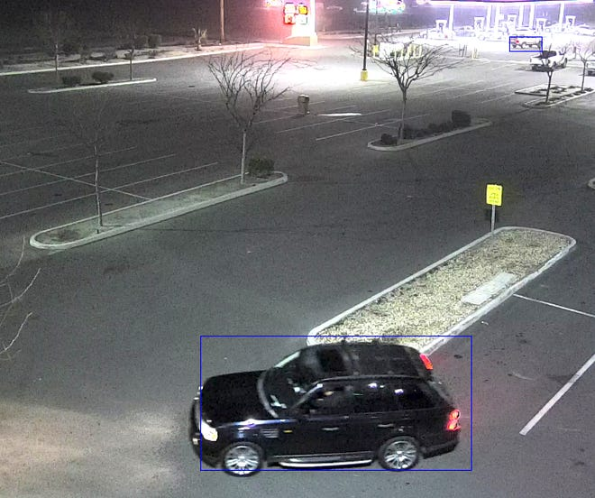 Lindsay police are searching for a suspect vehicle described as a black or dark-colored 2000s Range Rover SUV.