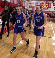 Pearl River's Corrine Miedreich, left, and Jenna Daly celebrate their 63-50 quarterfinal Class A win at Tappan Zee Feb. 26, 2020.