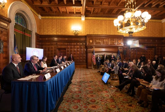 Gov. Andrew Cuomo spoke during a press conference on coronavirus in the Red Room at the State Capitol on Feb. 26, 2020.