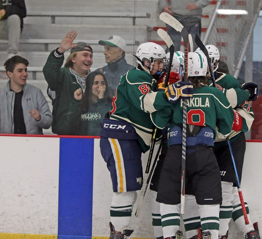Rivertown celebrates scoring a goal during Division 1 quarterfinal ice hockey at Brewster Ice Arena Feb. 25, 2020. Rivertown defeats Carmel 9-4.
