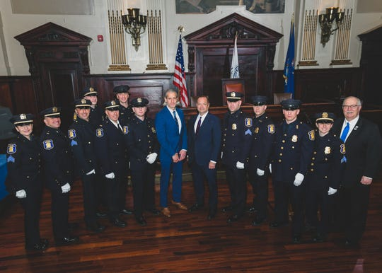 The Yonkers Police Department promoted 12 members during a ceremony on Feb. 26, 2020. From left to right: Lt. Jamie Dumser, Lt. Wayne Simoes, Detective Sgt. Paul Api, Sgt. John Viviano Jr., Detective Lt. John Marello, Sgt. Billy Zielinski, Sgt. Timothy Cooper, Deputy Mayor Steve Levy, Police Commissioner John J. Mueller, Sgt. Matthew Butenhoff, Sgt. Frank DiDomizio, Sgt. Nicholas Minichino, Sgt. Carissa Davis, and Councilman Mike Breen.