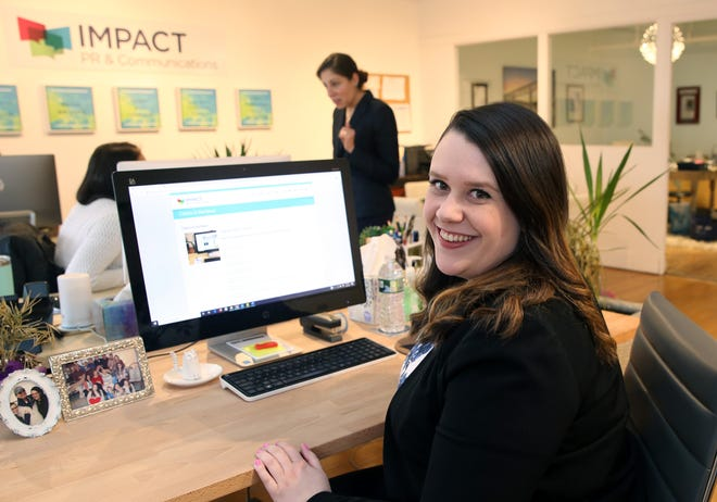 Sheila Bogan working at Impact PR & Communications in Poughkeepsie where she is senior account executive Feb. 26, 2020. Bogan found out about the job at Impact through networking via the Duchess County Regional Chamber of Commerce.