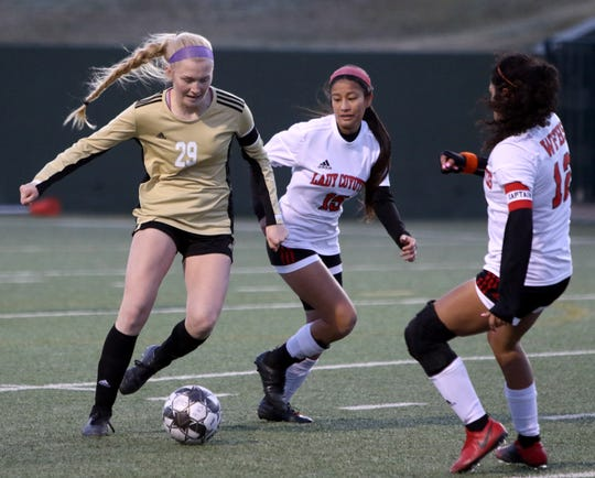 Rider's Mindy Shoffit dribbles in the match against Wichita Falls High Tuesday, Feb. 25, 2020, at Memorial Stadium.
