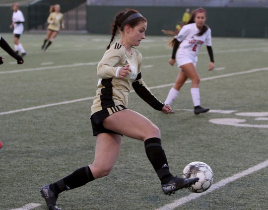 Rider's Salty Jackson dribbles in the match against Wichita Falls High Tuesday, Feb. 25, 2020, at Memorial Stadium.