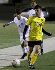 Rider's Nathan Sass passes in the match against Wichita Falls High Tuesday, Feb. 25, 2020, at Memorial Stadium.