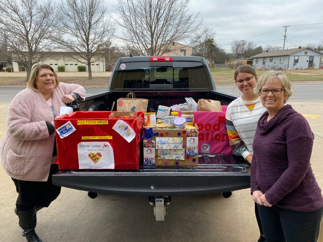 The Early Childhood Coalition and the North Texas Area United Way brought in a combined donation of 582 pounds of food and $100 for our friends and neighbors in need. Pictured from left to right, Beth Maywald (North Texas United Way) Taylor Offutt (Wichita Falls Area Food Bank) and Kara Nickens (Wichita Falls Area Food Bank).