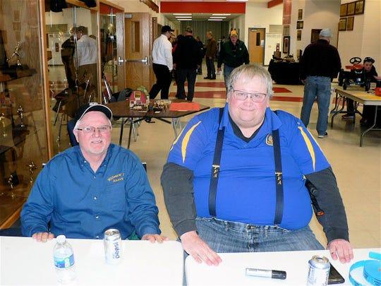 Steve Keil, left, and Tom Nielsen, FFA alumni welcomed visitors.