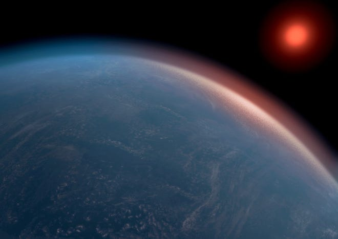An artist's conception depicts planet K2-18b, an exoplanet more than twice the size of Earth that's potentially habitable.