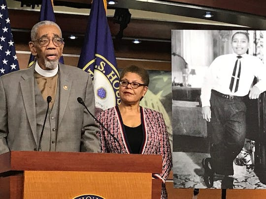 Democratic Reps. Bobby Rush of Illinois and Karen Bass of California, chairwoman of the Congressional Black Caucus, urged their colleagues to support an antilynching bill Feb. 26 named after Emmett Till.