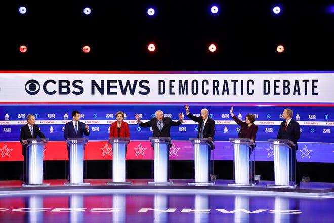 Democratic presidential candidates debate on Feb. 25, 2020, in Charleston, S.C.
