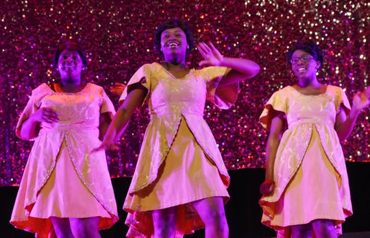 """Destiny Hagen stars as Lorrell Robinson, Faith Harris as Effie Meloday White and Rahima Olatiniwo as Deena Jones in """"Dreamgirls."""" The Bolton Conservatory for the Performing & Visual Arts will present """"Dreamgirls"""" beginning at 7 p.m. Thursday in the Bolton High School auditorium. """"Dreamgirls"""" is inspired by the story of the Supremes and features the sound of Motown Records. The show continues at 7 p.m. Friday and Saturday. Tickets are $10-$13.50. For more information, visit www.boltonconservatory.com."""