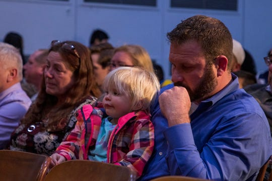 Jeff Trahey attended the memorial and library dedication for her late wife Sara at the Ella G. Clarke School in Lakewood on Feb. 26, 2020. Sara Trahey died Feb. 7 in a 2-alarm fire that spread to nearby homes.