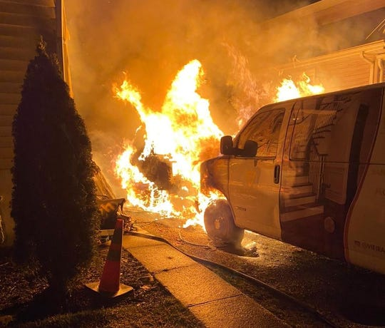 A Range Rover goes up in flames at a Long Branch fire on Feb. 27, 2020