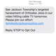 Text message received in Ocean County on Feb. 26 by Families for Jackson Justice, a group accusing Jackson elected officials of anti-Semitism.