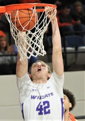 ACU's Clay Gayman dunks the ball in the first half against Sam Houston State. ACU beat the Bearkats 85-69 in the Southland Conference game Wednesday, Feb. 26, 2020, at Moody Coliseum.