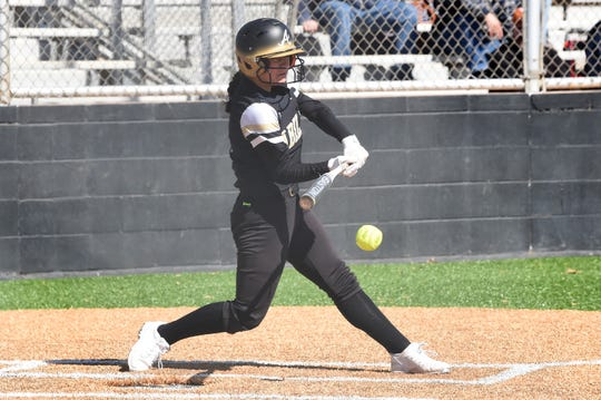 Abilene High's Maddi Perez (1) swings at a pitch during Thursday's game against Clyde in the Abilene Ice Breaker. Perez is playing her first year of varsity softball, but is coming off a second-team all-district volleyball season in the fall.