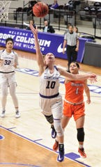 ACU's Breanna Wright (10) drives for a basket as Sam Houston State's Jennifer Oramas (1) defends in the first half.