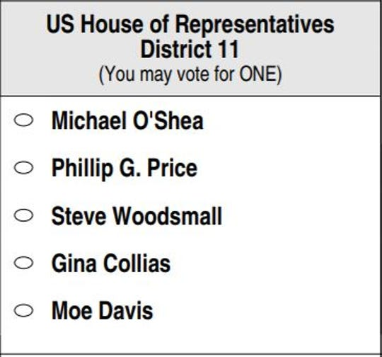 The Democratic primary ballot for the 11th U.S. House District.