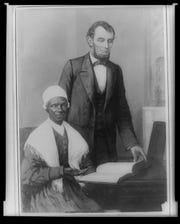"A painting commissioned after Sojourner Truth's death to commemorate her 1864 meeting with Abraham Lincoln. Titled ""Lincoln Showing Sojourner Truth the Bible Presented Him by the Colored People of Baltimore,"" it was painted by Franklin C. Courter, an art professor at Albion College."