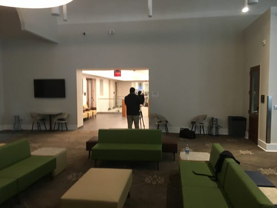 The second floor area, originally an auditorium,  at the new SUNY Broome Culinary Arts School at 78 Exchange St., Binghamton.