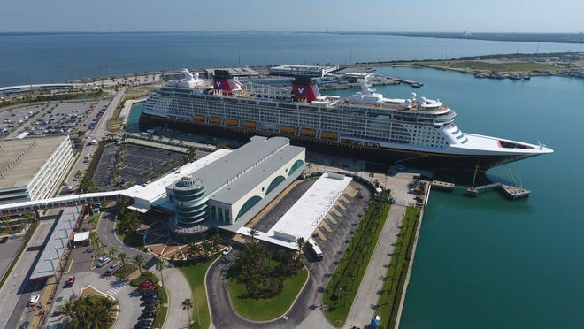 The Disney Dream is shown docked at Port Canaveral's Cruise Terminal 8.