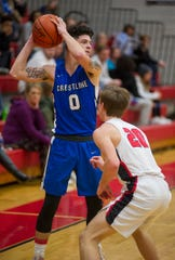Crestline's Kaden Ronk looks to pass to a teammate in the D-IV sectional semifinal against New London.