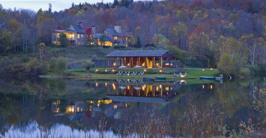 Cottages and rooms at Twin Farms overlook 300 acres of farmland and forest, including a pond.
