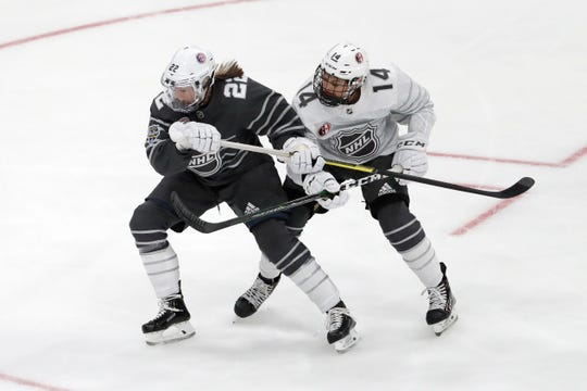 United States' Kacey Bellamy, right, and Canada's Renata Fast helped open eyes to women's hockey at the NHL All-Star Game last month. Now they're on tour with a stop in South Jersey this weekend.