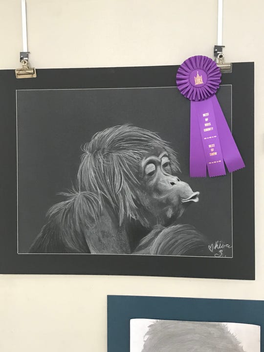"Kiara Shewalter earned the ""Best of Ross County"" award for her piece, ""Do You Want A Banana"", that was created using charcoal and chalk."