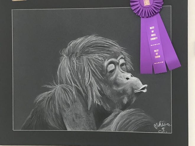 """Kiara Shewalter earned the """"Best of Ross County"""" award for her piece, """"Do You Want A Banana"""", that was created using charcoal and chalk."""