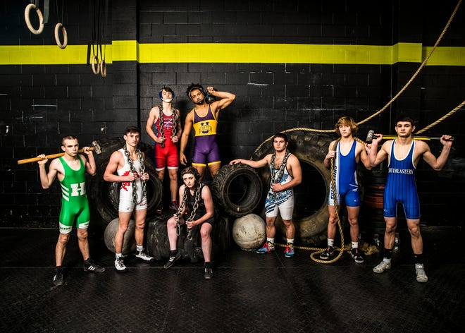 Area wrestlers started their tournament battles this weekend to try and make it to the top. (L-R) Dayland Thomas, Chanston Moll, Kaleb Frankopoulos, Abbi Montgomery, Tim Diamond, Dalton Metzger, Caleb Lake, and Wesley Stewart.  Photo taken at CrossFit Incognito in Chillicothe.