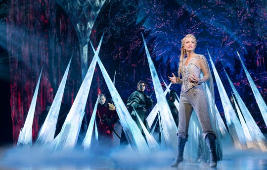 "Caroline Bowman as Elsa, along with several other members of the case of the North American Tour of ""Frozen,"" The show will run for three weeks, Jan. 6-24, 2021, as part of the Broadway in Cincinnati subscription season."