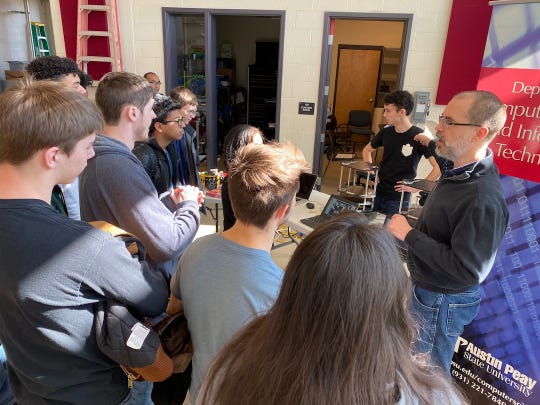 Twenty-five students from Northeast High School's Computer Information Technology Academy recently visited with Austin Peay State University students and professors to learn more about how robotics is integrated in various fields.