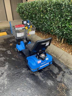 A man stole this Walmart cart and drove it to a nearby Days Inn. He was arrested Wednesday, Feb. 26, 2020.