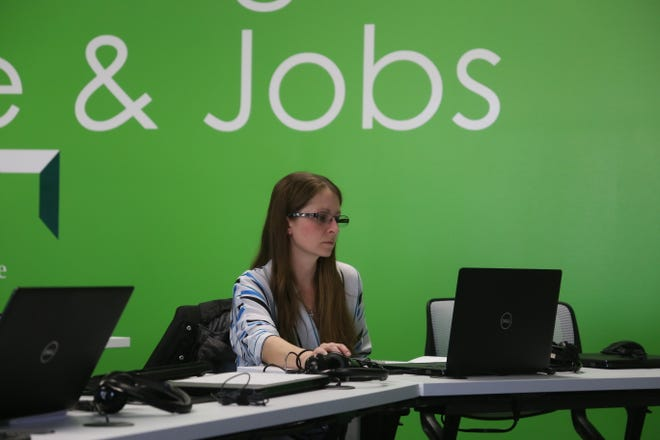 Digital Works graduate Sarah McBride researches prospective employers Feb. 27, 2020, at the nonprofit's office on Fort Campbell Boulevard.