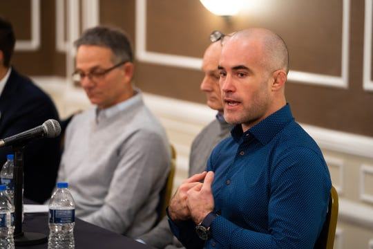 Former University of Michigan wrestler Andy Hrovat talks about the alleged sexual misconduct from University of Michigan's former physician, Dr. Robert E. Anderson during a press conference at Best Western Premier Detroit Southfield Hotel on Thursday, February 27, 2020.