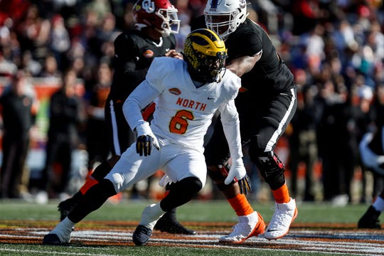 Josh Uche competes during the Senior Bowl in January.