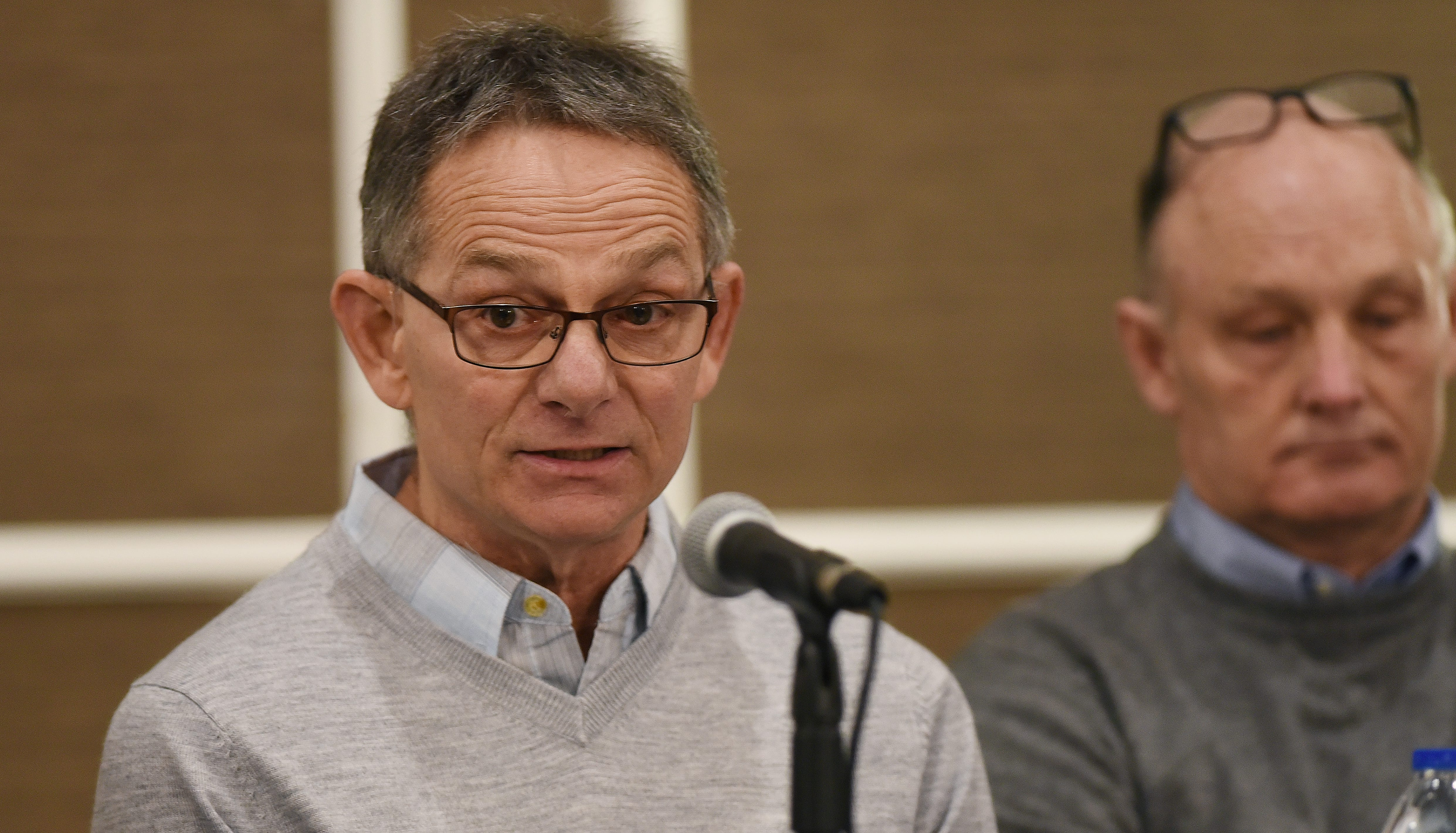 Former University of Michigan wrestler Tad Deluca answers questions during a press conference in Southfield on Feb. 27.