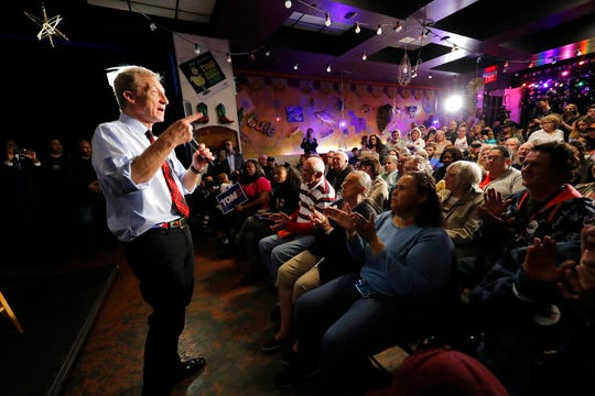 Democratic presidential candidate Tom Steyer speaks at a campaign event in Myrtle Beach, S.C., Wednesday, Feb. 26, 2020.
