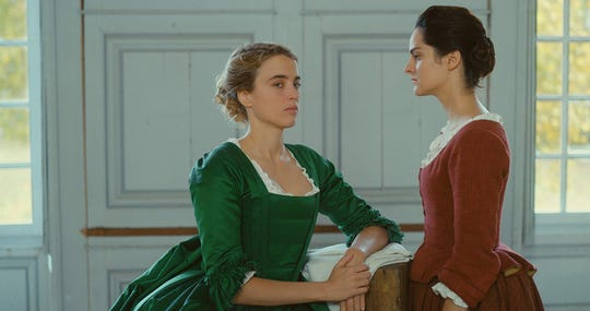"Adèle Haenel and Noémie Merlant in ""Portrait of a Lady on Fire."""