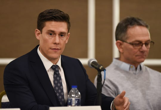 Attorney Parker Stinar, left, who represents Tad Deluca, right, and fellow accusers Tom Evashesyski and Andy Hrovat, challenged University of Michigan officials to explain why it took so long to respond to sexual abuse allegations against Anderson, who worked at the university from 1968 to 2003.
