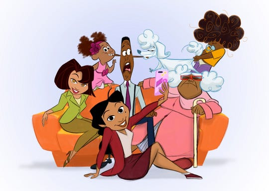 "Characters from a revival of the new animated series ""The Proud Family: Louder and Prouder"" The new series will feature original cast members including Kyla Pratt as Penny Proud and Tommy Davidson and Paula Jai Parker as her parents, Oscar and Trudy."