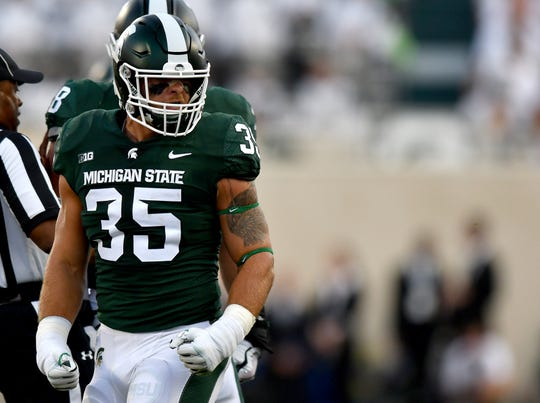 Joe Bachie's senior season at Michigan State was cut short by a positive test for a performance-enhancing drug. Bachie said Thursday is was an over-the-counter supplement.