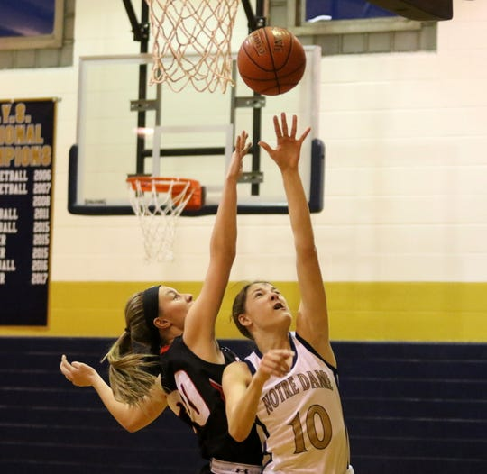 Shannon Maloney of Elmira Notre Dame puts up a shot as Oxford's Karley Miller defends during Oxford's 60-57 win in the first round of the Section 4 Class C girls basketball tournament Feb. 26, 2020.